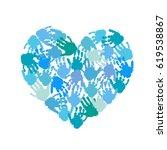 hand print heart. kids palm... | Shutterstock .eps vector #619538867
