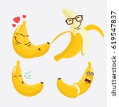 cute fruit banana cartoon... | Shutterstock .eps vector #619547837