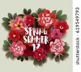 spring  summer. illustration... | Shutterstock .eps vector #619549793