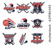vector set logo for cricket... | Shutterstock .eps vector #619581443