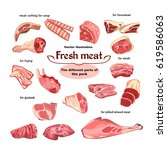 natural cutting pork meat parts ...   Shutterstock .eps vector #619586063
