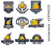 vector set basketball logos for ... | Shutterstock .eps vector #619594223