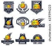 vector set basketball logos for ... | Shutterstock .eps vector #619594223
