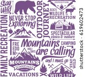 typographic vector mountain and ... | Shutterstock .eps vector #619602473