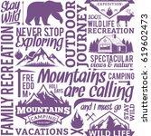 typographic vector mountain and ... | Shutterstock .eps vector #619602473