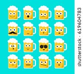 set of emoticons on beer mugs.