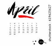 vector calendar for april 2018. ... | Shutterstock .eps vector #619625627
