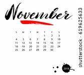 vector calendar for november... | Shutterstock .eps vector #619625633
