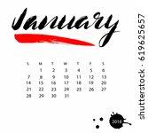 vector calendar for january... | Shutterstock .eps vector #619625657