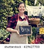 woman owner fresh grocery... | Shutterstock . vector #619627703