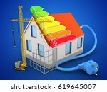 3d illustration of house red... | Shutterstock . vector #619645007