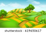 farm field landscape. 3d vector ... | Shutterstock .eps vector #619650617
