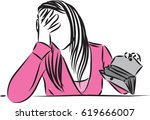 woman crying out of cash... | Shutterstock .eps vector #619666007