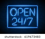 open 24 7 hours neon light on... | Shutterstock .eps vector #619673483