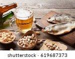 Lager Beer Mug And Snacks On...