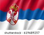 national flag of serbia... | Shutterstock .eps vector #619689257
