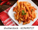 penne pasta with tomato  ... | Shutterstock . vector #619690727