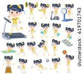 set of various poses of pop... | Shutterstock .eps vector #619701743