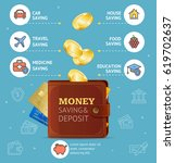 money saving and deposit...   Shutterstock .eps vector #619702637