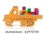 Old Wooden Toy Car Truck With...
