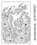 bird and flower coloring page | Shutterstock .eps vector #619720037