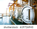 offshore construction platform...   Shutterstock . vector #619726943