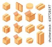 isometric set of cool paper... | Shutterstock .eps vector #619728197