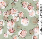 roses pattern gently pink green ... | Shutterstock . vector #619732073