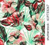 floral pattern artistic... | Shutterstock . vector #619733267
