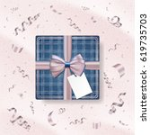 realistic jeans gift box with... | Shutterstock .eps vector #619735703