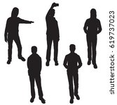 set of silhouettes of teenagers ... | Shutterstock .eps vector #619737023