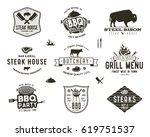 set of vintage steak house  bbq ... | Shutterstock .eps vector #619751537