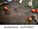 meat for steak with rosemary... | Shutterstock . vector #619754027