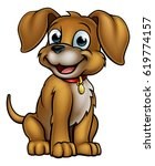 a cute cartoon dog mascot... | Shutterstock . vector #619774157