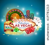 set of gambling icons in las... | Shutterstock .eps vector #619781213