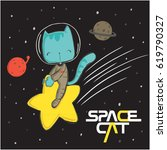 Stock vector cute cat illustration 619790327