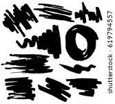 set grunge brush stroke. hand... | Shutterstock .eps vector #619794557