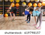 children at physical education... | Shutterstock . vector #619798157