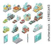 mobile homes isometric set... | Shutterstock .eps vector #619801643
