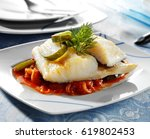 codfish dish  basque style... | Shutterstock . vector #619802453