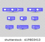 share  like  comment icons for... | Shutterstock .eps vector #619803413