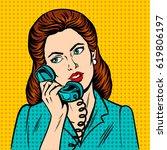 woman with phone pop art retro... | Shutterstock .eps vector #619806197