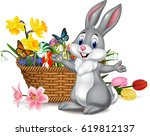 cartoon rabbit with easter egg... | Shutterstock .eps vector #619812137