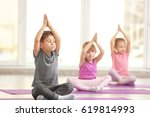 group of children doing... | Shutterstock . vector #619814993