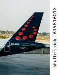 Small photo of BUDAPEST, HUNGARY - MAY, 05: Tail of passenger jet plane of airline company Brussels Airlines preparing to take off from airport in Budapest