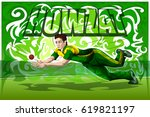 concept of sportsman playing... | Shutterstock .eps vector #619821197