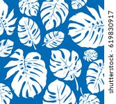 blue and white monstera... | Shutterstock .eps vector #619830917
