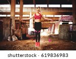 fitness cardio training with... | Shutterstock . vector #619836983