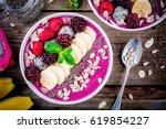 healthy breakfast bowl ... | Shutterstock . vector #619854227