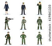 army soldiers set with military ... | Shutterstock .eps vector #619861103